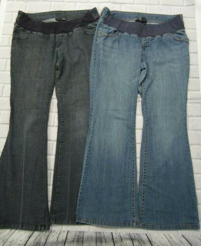 Lot of 2 Womens Size L Large ANA A.N.A.Maternity Jeans Stretch Waist Inseam 31