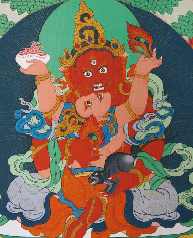 """17"""" NATURAL MINERAL COLOR BLESSED TIBET THANGKA POSTER: RED JAMBHALA & CONSORT ="""