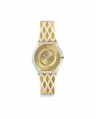 Swatch LOSANGELOR SFE103 Women's 34mm Gold Diamond White Leather Watch