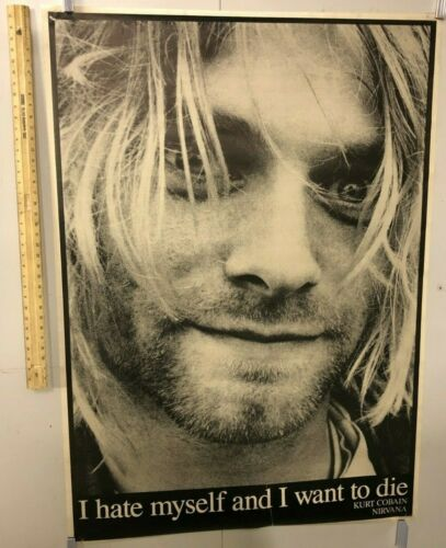 "HUGE SUBWAY POSTER Kurt Cobain ""I Hate Myself And I Want To Die"" Nirvana Grunge"