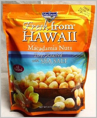 Macfarms Macadamia Nuts Dry Roasted With Sea Salt 24Oz Sealed Bag Free Shipping