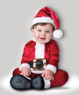 BABY SANTA CLAUS FANCY DRESS COSTUME FATHER CHRISTMAS BODYSUIT AND HAT OUTFIT