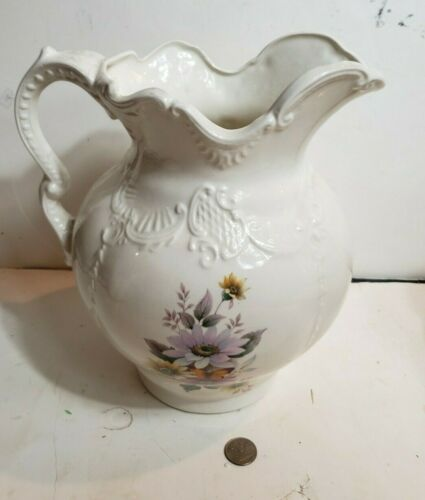 "vintage floral butterfly water pitcher Victorian large 11"" tall white decorative"