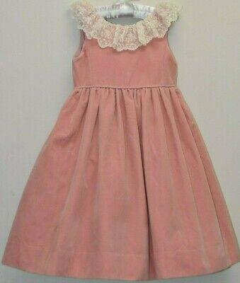 Neu Ralph Lauren Elfenbein Spitze Pink Samtkleid Pink Weihnachten 4 T Exquisit