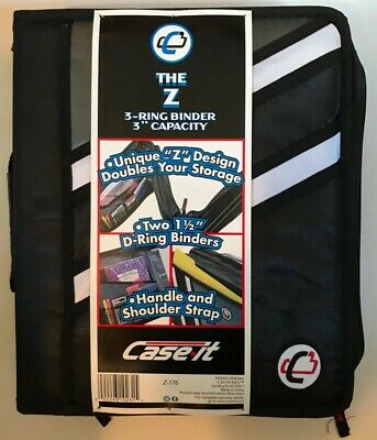 Nwt Case-it The Z 2-in-1 Zipper 3-ring Binder 3 Capacity Black Z-176