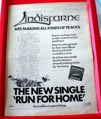 Lindisfarne Run For Home/UK Tour Vintage ORIG 1978 Press/Mag ADVERT Poster-Size