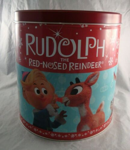 Christmas Popcorn Tin Collectible Rudolph the Red Nosed Reindeer