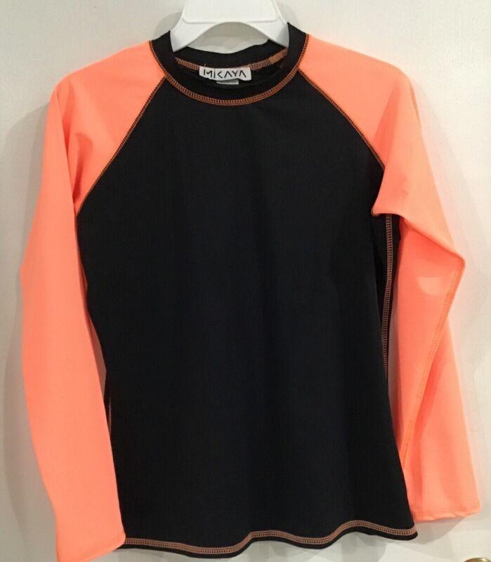 RASHGUARD Youth Unisex Size Large Long sleeve Black W/ Neon Orange Sleeves NEW