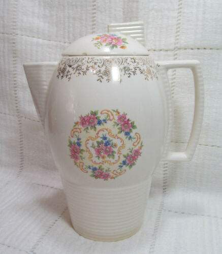 Sebring Pottery American Limoges VENETIAN LACE Art Deco Coffee Pot w Lid RARE