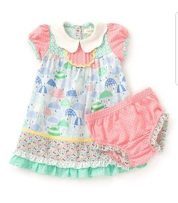 NWT Matilda Jane 12-18 month Raindrops Dress The Adventure Begins & Diaper Cover