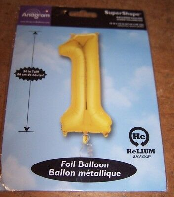 SuperShape Foil Number 1 ONE Gold Jumbo Party Balloon NEW in PACKAGE 34 inches (Number One Balloon)