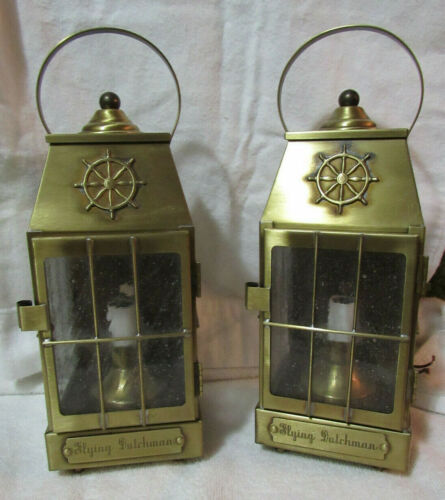 Antique Vintage Flying Dutchman Brass Light Lamp Lantern Pair
