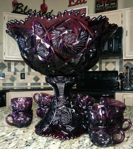 Imperial Glass Whirling Star Amethyst Punch Bowl 12 Piece Set