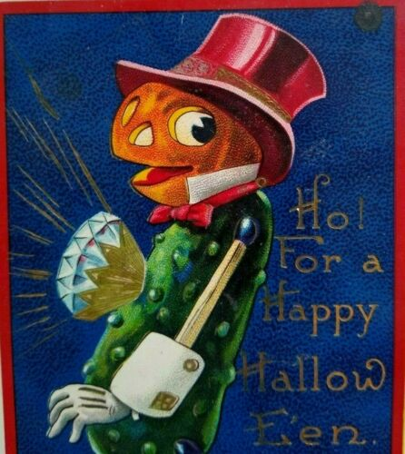 Vintage Halloween Postcard Goblin Pickle Man Diamond Gel 7107 Anthropomorphic
