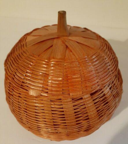 "Vintage Wicker Pumpkin Basket with Lid Orange 7"""