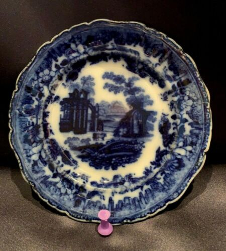 """Early Antique Flow Blue 5"""" Cup Plate """"Ancient Ruins"""" Nice Mark DeepBlue England"""