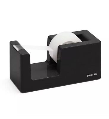 Poppin Black Tape Dispenser 5.5l Standard 34 X 1 Solid Weighted Core New