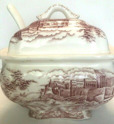 Antique Pink Transferware Soup Tureen - Old Britain Castle
