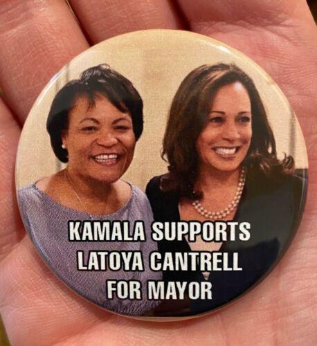 2021 VP Kamala Harris & Mayor LaToya Cantrell New Orleans LA Coattail Button Pin