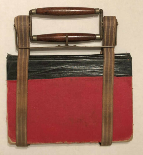 Antique Victorian BOOK CARRIER Beautiful Burled Wood Handles Dated 1873! School