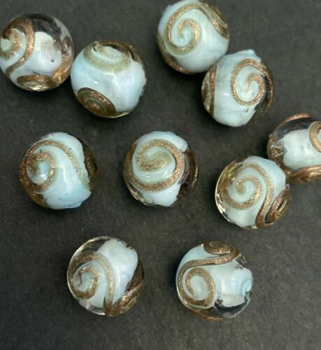 10 AQUA BLUE with  GOLD SWIRL ROUND BALL LAMP WORK GLASS BEADS- 12.5mm