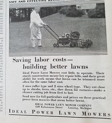 1929 Vintage IDEAL POWER LAWN MOWER Building Better Lawns Original
