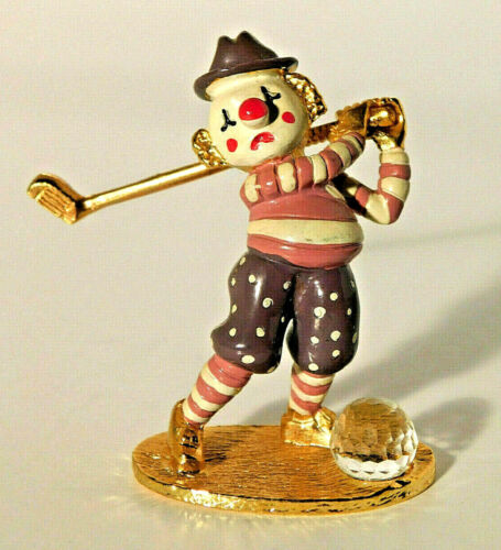 Spoontiques Painted Pewter Clown Golfer Golfing with Crystal Ball Figurine KM472