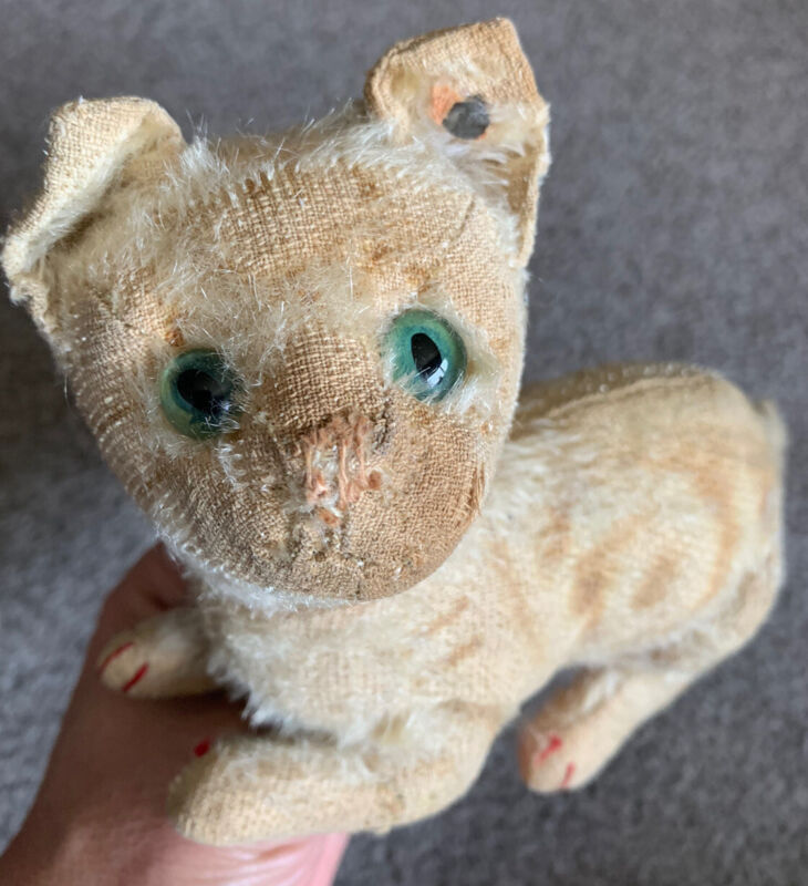 RARE Early  Antique  White ? Mohair  Steiff Crouching CAT  FF Long f Button NR!