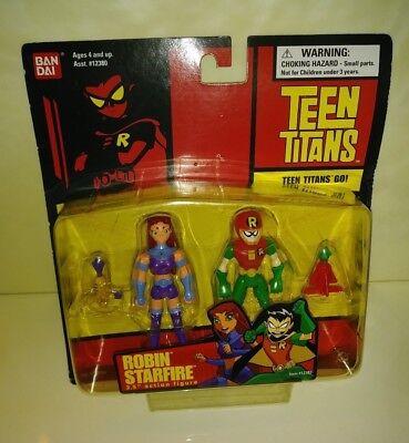 Teen Titans GO! ROBIN & STARFIRE, 2004, Bandai, 3.5 Inch, New, MOC