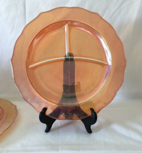 """Depression Glass 2 Iridescent Orange Grill Plate by Federal Glass Normandie 11"""""""