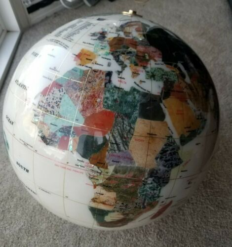 Huge GLOBE Gemstone Mother of Pearl Stone Inlay No Stand Base