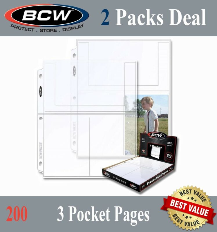 200 BCW Photo / Postcard Pages 3 4x6 Pockets Archival Safe Sheets For 3 Rings