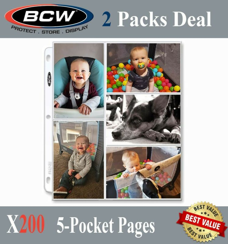 200 BCW 5 Postcard / Photo / Card Pages 5 Pockets For 2 Ring Albums Archival