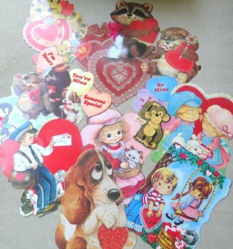 14 Vintage Set 1981 Valentine Die Cut Cardboard Heart, Puppy, Love, Decorations