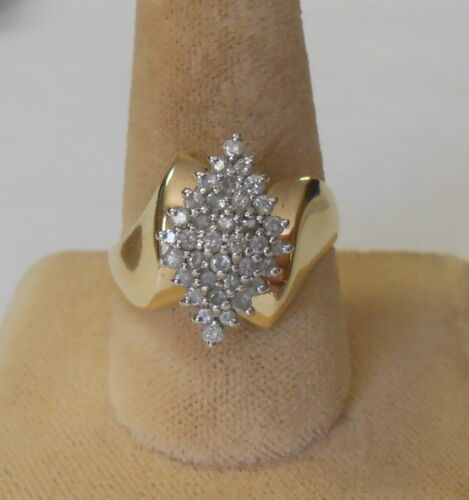 Vintage 14K Gold Tiered Diamond Cluster Ring Approx 1 Carat Signed EV Size 8.5