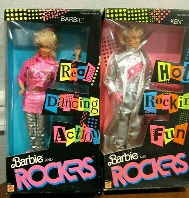 LOT OF 2 NEW 1986 BARBIE AND THE ROCKERS - BARBIE & KEN DOLLS - NRFB