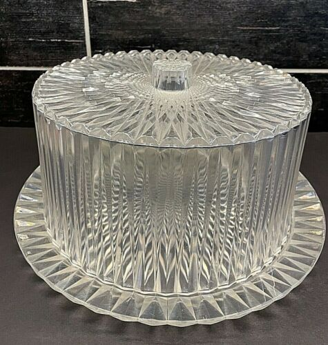 Vtg Mid Century Acrylic Diamond Cake Plate Covered Keeper Carrier Clear Faceted