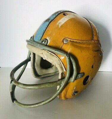 f03ade527e8 Vintage 1930s 40s MacGregor H612 Leather Football Helmet Yellow Blue Antique