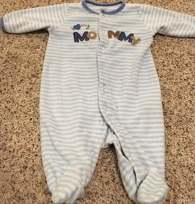 """Carter's Boys 3 Month Sleeper """"I Love Mommy"""" Blue White Stripe Terry Cloth"""