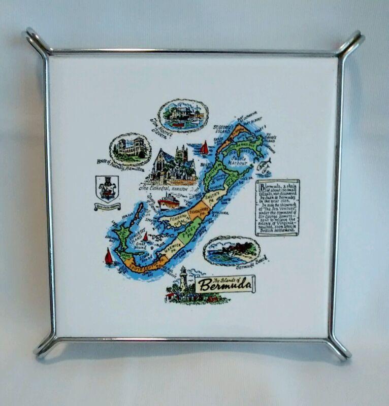 VINTAGE The Islands of Bermuda TRIVET by H & R JOHNSON LTD TILES ENGLAND Cristal