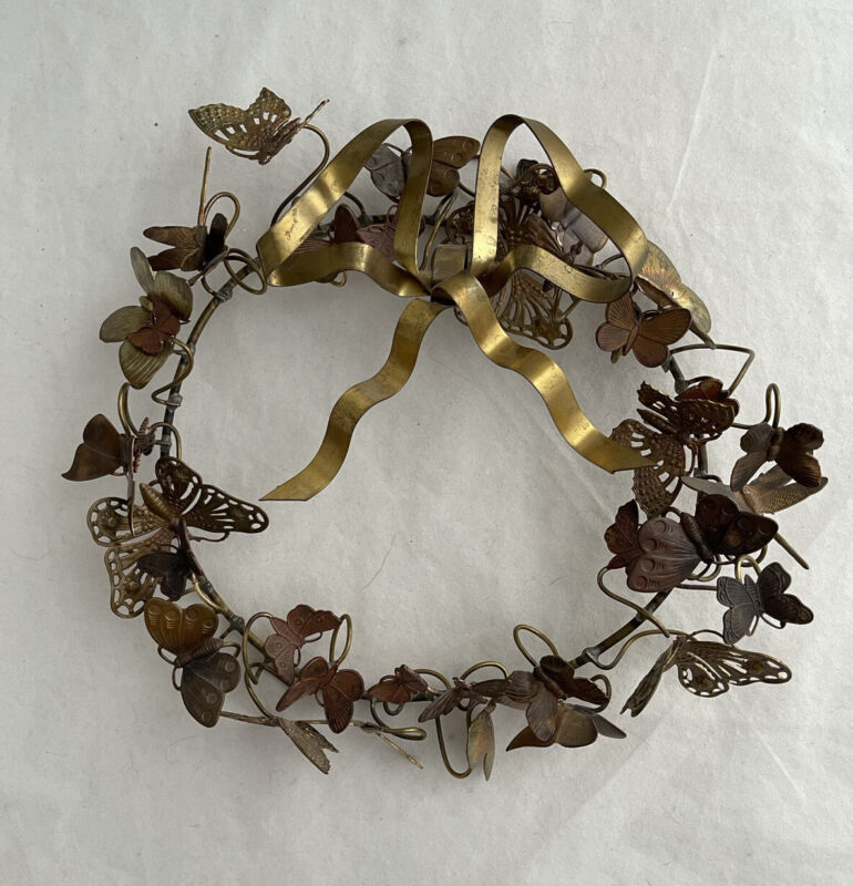 """DRESDEN PETIT CHOSES 10"""" BRASS HOLIDAY WREATH BUTTERFLY DRAGONFLY"""