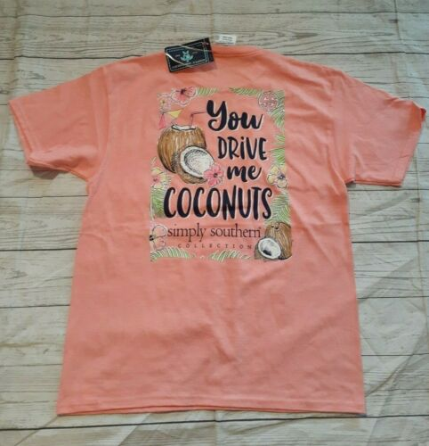 "NWT Simply Southern ""You Drive Me Coconuts"" Youth Sz Medium Short Sleeve T-Shirt"