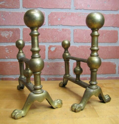 Antique Pair Brass Fireplace Tool Rests Ornate Hearth Ware Claw Ball Feet