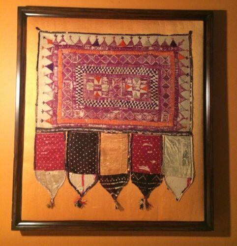 ANTIQUE EARLY 19TH CENTURY PHULKARI TEXTILE hand embroidery custom frame