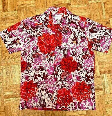 1970s Men's Shirt Styles – Vintage 70s Shirts for Guys Vintage 1970s KAHALA for Liberty House Mens HAWAIIAN SHIRT Size M Red Pink Batik $44.99 AT vintagedancer.com