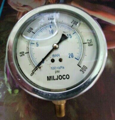 Miljoco 4 Stainless Steel Liquid Filled Pressure Gauge 0 To 300 Psi