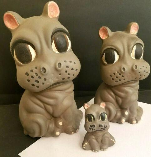 Cute Hippopotamus Family Set of 3 Baby Momma Poppa Ceramic Statue Figures