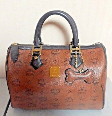 Authentic MCM Brown Visetos Medium Tote bag with dogbone in woman purse