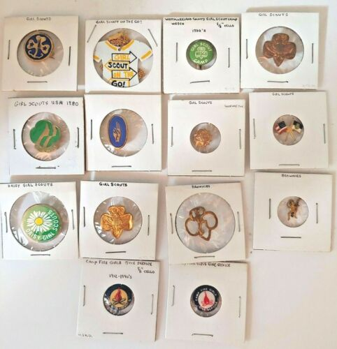 14 OLD Girl Scout Pins Pinback Charm Necklace Brownies Daisy Camp Fire B-P4