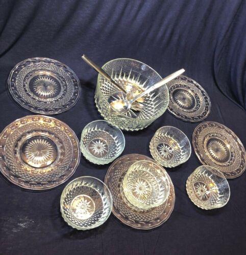 """Vintage Set of 5 Crystal Salad Plates 8"""" and 5 Salad Bowls plus Serving Bowl"""